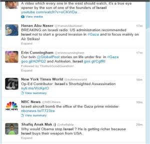 gaza shells israel on twitter