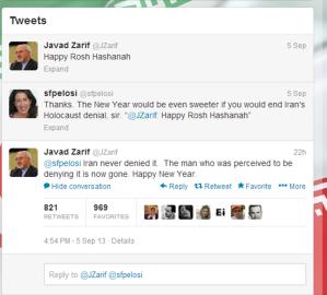 iranian foreign minister javar zarif wishes shana tova on twitter